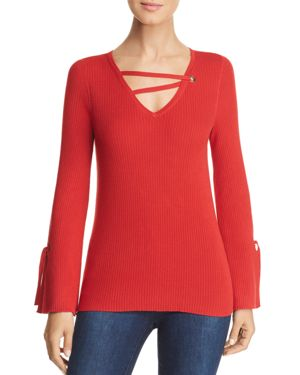 DESIGN HISTORY Ribbed Strappy-V-Neck Sweater in Romantic Red