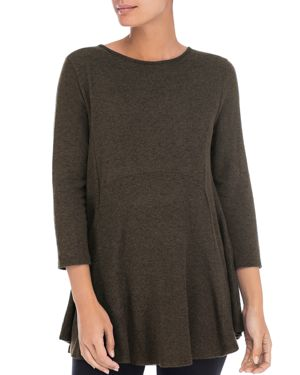 B COLLECTION BY BOBEAU Brushed Babydoll Tunic in Military Olive