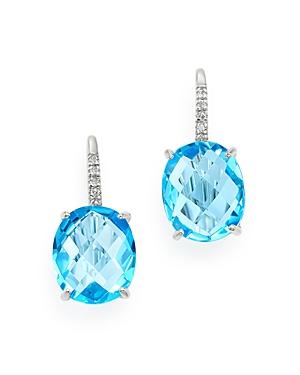 Blue Topaz & Diamond Accent Earrings in 14K White Gold