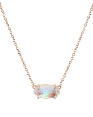 KENDRA SCOTT Ever Druzy Pendant Necklace in Blush Dichroic Glass/Rose Gold