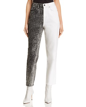 T by Alexander Wang - Bluff High-Waisted Classic Jeans in Marble Gray/Ivory
