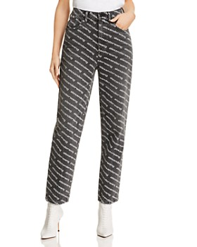 T by Alexander Wang - Bluff High-Waisted Classic Jeans in Gray/White