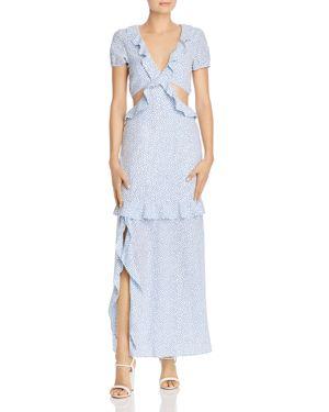NIGHTWALKER Josie Cutout Maxi Dress - 100% Exclusive in Blue/White Polka Dot