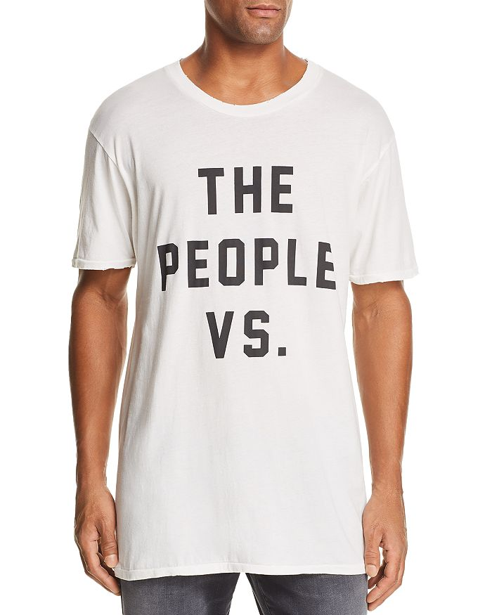 The People Vs. Distressed Logo Graphic Tee In Off White