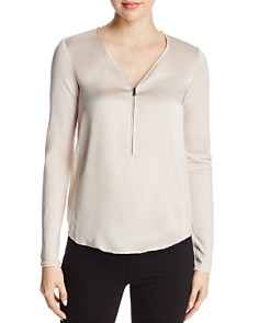 Go by Go Silk - Half Zip Mixed Media Top