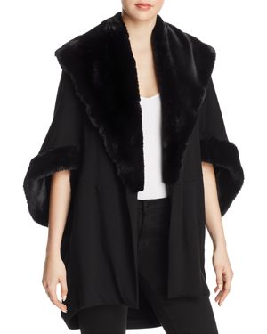 CAPOTE Faux Fur Trim Open Jacket in Black