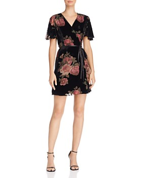 AQUA - Floral Velvet Burnout Wrap Dress - 100% Exclusive