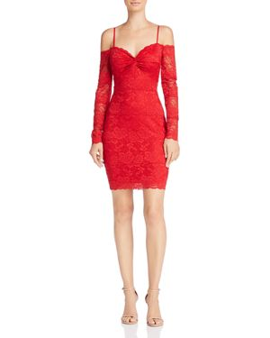 GUESS Gabbie Cold-Shoulder Lace Dress in Scarlett Red