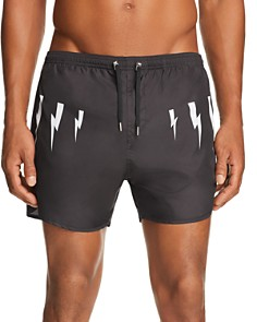 Neil Barrett - Lightening Bolt-Print Swim Shorts