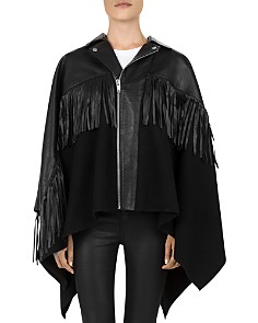 The Kooples - Moto-Inspired Fringed Poncho