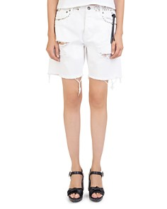 The Kooples - Studded & Destroyed Denim Shorts in White