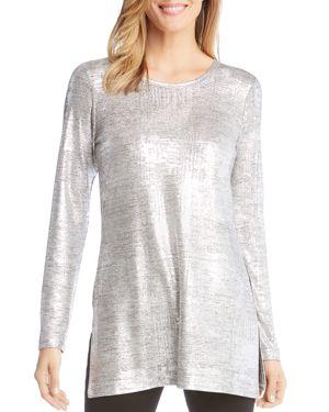 KAREN KANE Metallic Knit Tunic in Silver