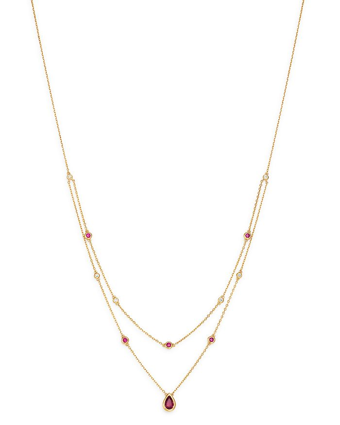 """Bloomingdale's - Ruby & Diamond Layered Necklace in 18K Yellow Gold, 18"""" - 100% Exclusive"""