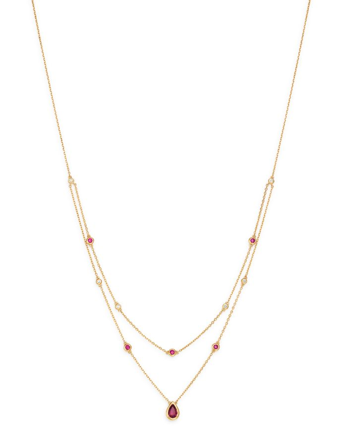 """Bloomingdale's Ruby & Diamond Layered Necklace in 18K Yellow Gold, 18"""" - 100% Exclusive    Bloomingdale's"""