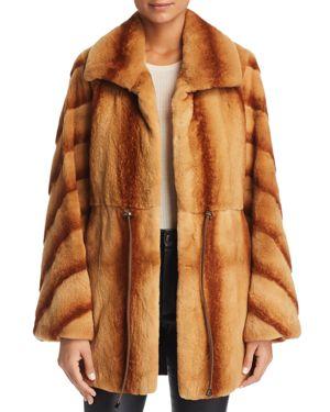 MAXIMILIAN FURS X Z.Rhodes Plucked Mink Drawstring Waist Fur Coat in Whiskey