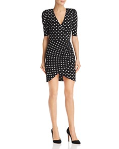 Alice and Olivia - Judy Ruched Polka Dot Dress