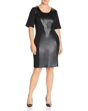 Junarose Plus Faux Leather Panel Dress