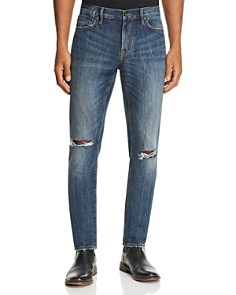 John Varvatos Star USA - Ripped Bowery Straight Slim Fit Jeans in Medium Blue