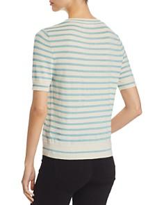 Majestic Filatures - Short-Sleeve Metallic Striped Sweater