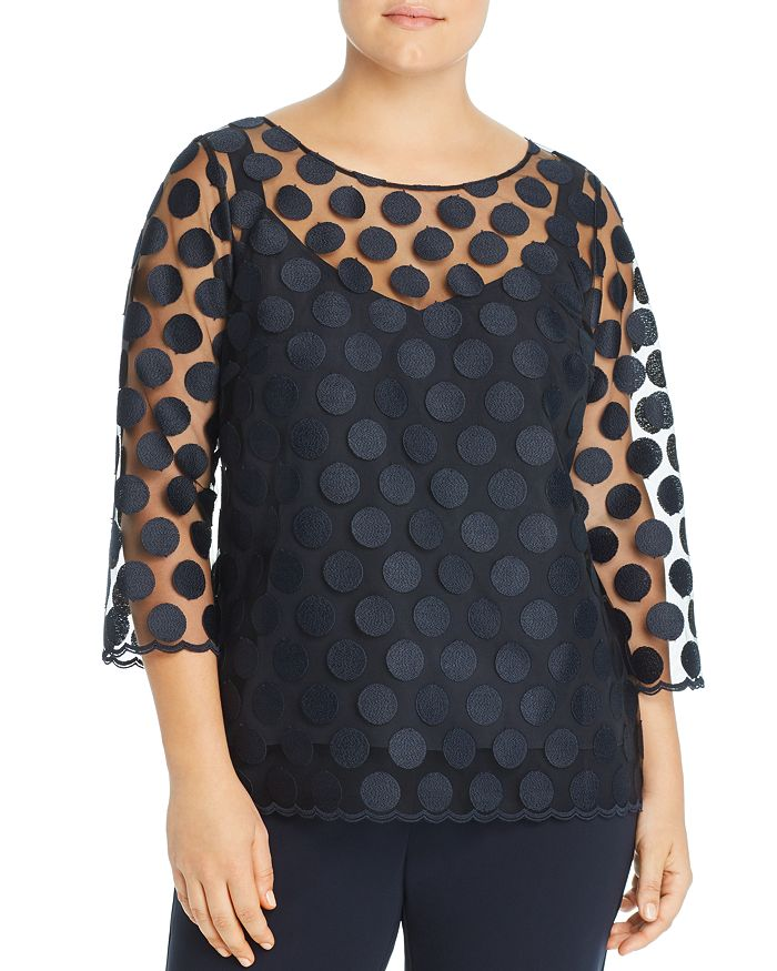 Marina Rinaldi - Belinda Embroidered Dot-Pattern Tunic