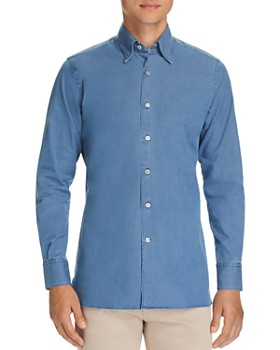 Canali - Solid Chambray Regular Fit Sport Shirt