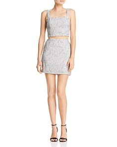 AQUA - Metallic Tweed Skirt - 100% Exclusive