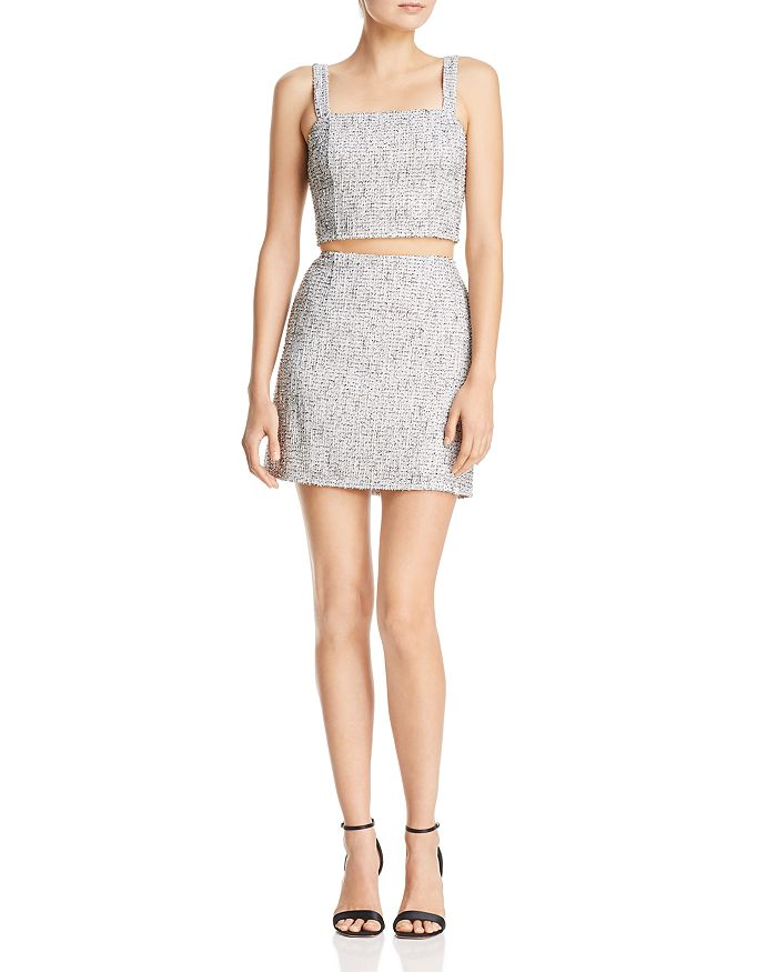 06df7b38c4 AQUA - Metallic Tweed Crop Top   Metallic Tweed Mini Skirt - 100% Exclusives