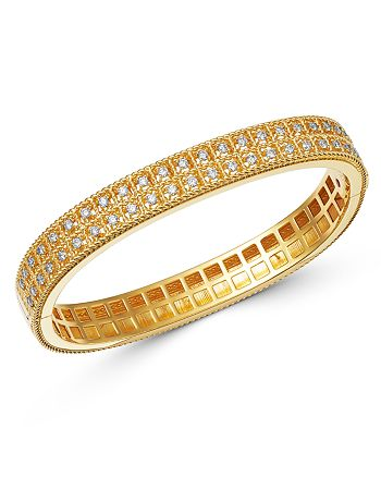 Roberto Coin - 18K Yellow Gold Byzantine Barocco Diamond Two-Row Bangle Bracelet