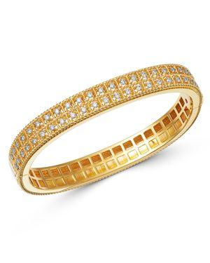 Roberto Coin 18K Yellow Gold Byzantine Barocco Diamond Two-Row Bangle Bracelet