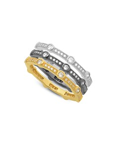 AQUA - Stackable Tricolor Pavé Rings in Platinum-Plated Sterling Silver, Hematite-Plated Sterling Silver or 18K Gold-Plated Sterling Silver - 100% Exclusive