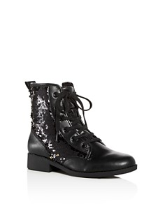 STEVE MADDEN - Girls' JRegal Sequin Combat Boots - Little Kid, Big Kid