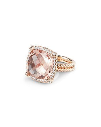 David Yurman - Châtelaine®  Pave Bezel Ring with Morganite in 18K Rose Gold