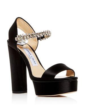 Jimmy Choo Women's Santina 125 Embellished High Block-Heel Platform Sandals