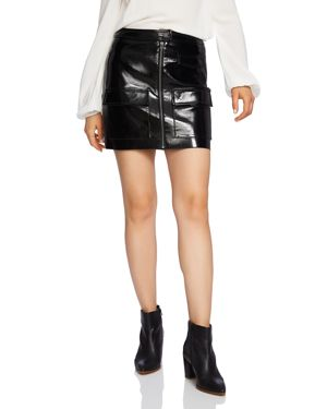 Image of 1.state Crackled Faux Patent Leather Skirt