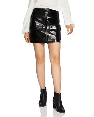 1.state Crackled Faux Patent Leather Skirt