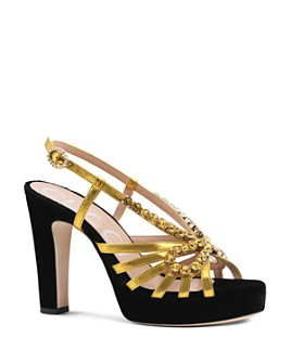 Gucci - Women's Zephyra Velvet & Leather Sandals with Crystals