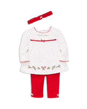 Little Me - Girls' My First Christmas Holly Tunic, Leggings & Headband Set - Baby
