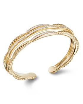 David Yurman - Tides Three Row Cuff Bracelet in 18K Yellow Gold with Diamonds
