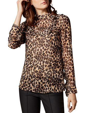 KAREN MILLEN - Ruffled Leopard Print Top