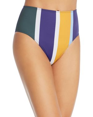MEI L'ANGE Ariana High Waist Bikini Bottom in Multi Stripe
