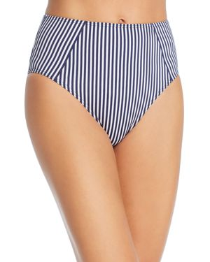 MEI L'ANGE Ariana High Waist Bikini Bottom in Blue Pin Stripe
