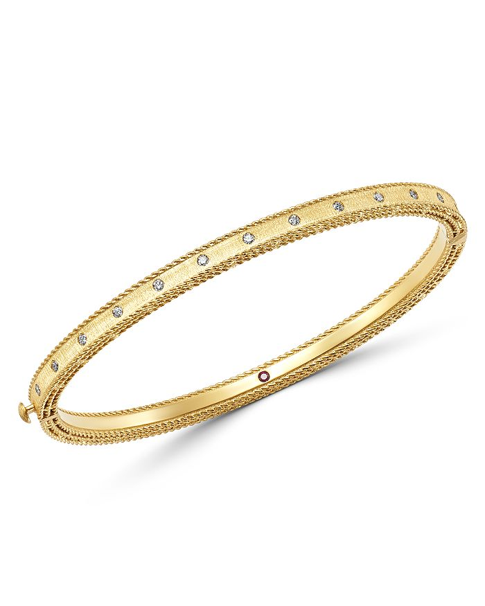 Roberto Coin - 18K Yellow Gold Princess Diamond Hinged Bangle Bracelet