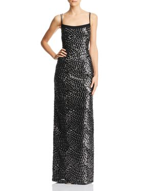 Aidan by Aidan Mattox Embroidered Sequin Gown
