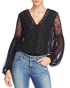 Alice and Olivia - Brea Lace Detail Balloon-Sleeve Top