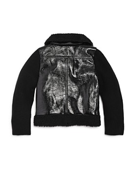 Design History - Girls' Contrast Knit Faux-Leather Jacket with Sherpa Trim - Little Kid, Big Kid