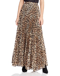 Alice and Olivia - Katz Metallic Leopard Print Pleated Maxi Skirt