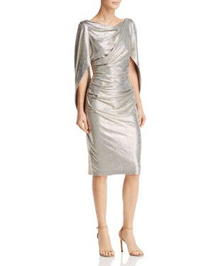 AVERY G Draped Metallic Dress in Light Gold