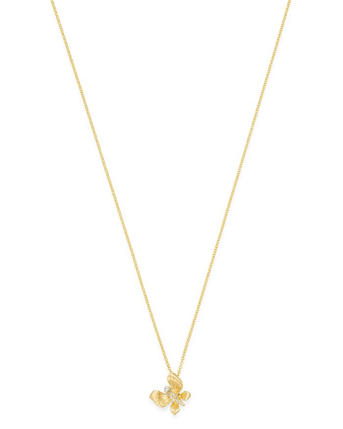 041fff15c26ef Diamond Butterfly Pendant Necklace in 14K Textured Yellow Gold, 0.05 ct.  t.w. - 100% Exclusive