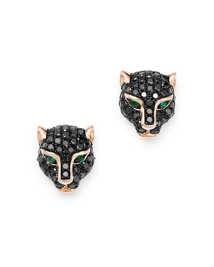 Bloomingdale's - Black Diamond & Emerald Panther Stud Earrings in 14K Rose Gold - 100% Exclusive