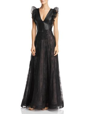 NHA KHANH Faux-Leather & Lace Gown in Black